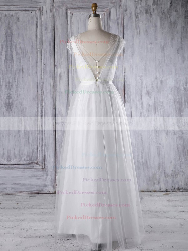 A-line V-neck Floor-length Tulle with Sashes / Ribbons Bridesmaid Dresses #PDS01013315