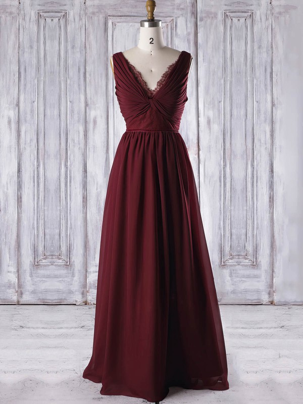 A-line V-neck Floor-length Lace Chiffon with Criss Cross Bridesmaid Dresses #PDS01013316