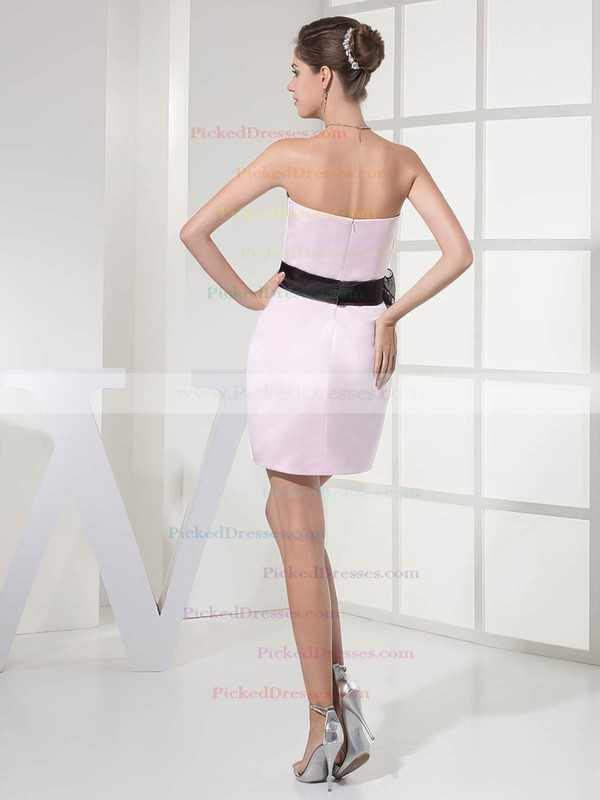 Satin Sheath/Column Strapless Short/Mini Sashes/Ribbons Bridesmaid Dresses #PDS01011696