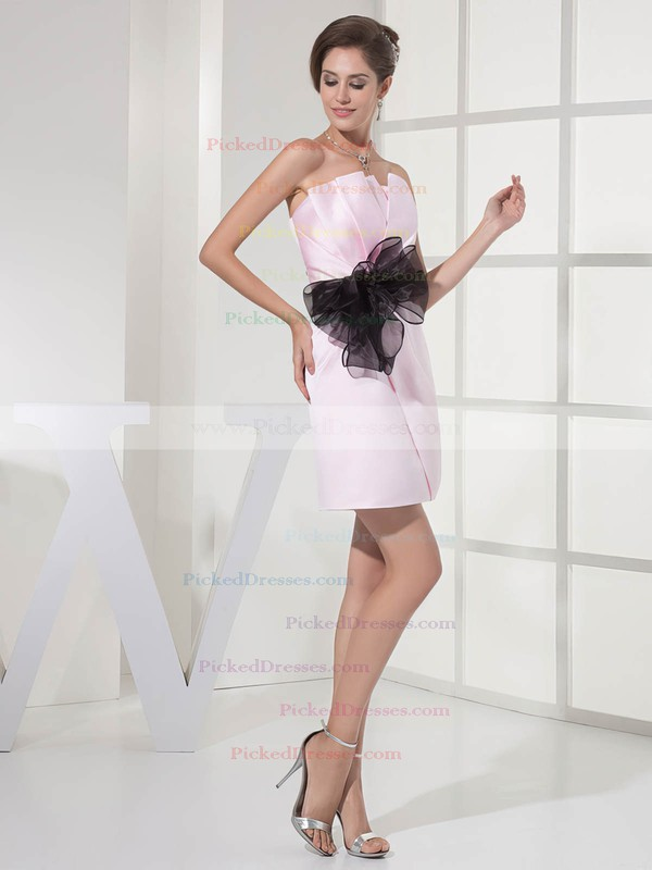 Satin Sheath/Column Strapless Short/Mini Sashes/Ribbons Bridesmaid Dresses #PDS01011696