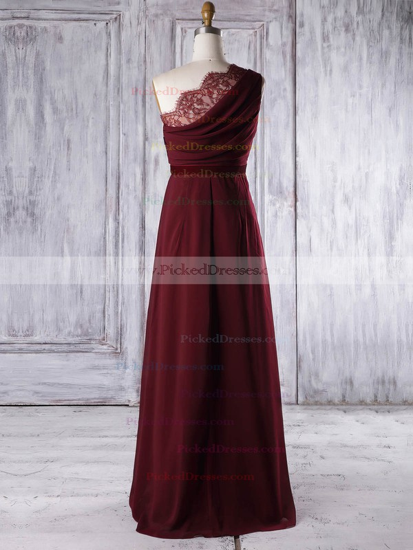 A-line One Shoulder Floor-length Lace Chiffon with Sashes / Ribbons Bridesmaid Dresses #PDS01013317
