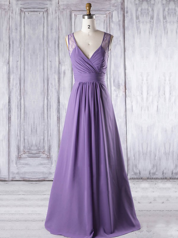 A-line V-neck Floor-length Lace Chiffon with Ruffles Bridesmaid Dresses #PDS01013319