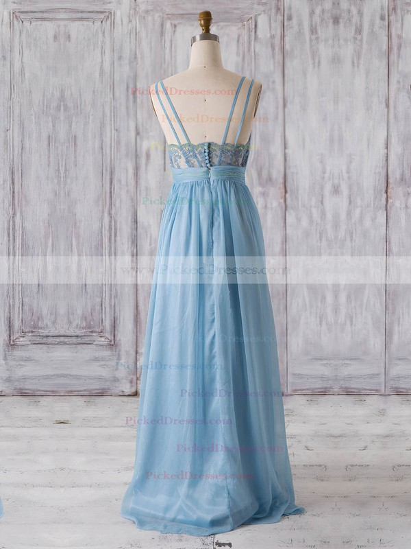 A-line V-neck Floor-length Chiffon with Lace Bridesmaid Dresses #PDS01013320