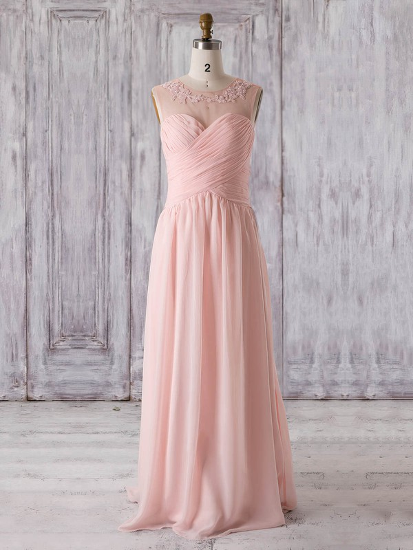 A-line Scoop Neck Floor-length Chiffon Tulle with Appliques Lace Bridesmaid Dresses #PDS01013321