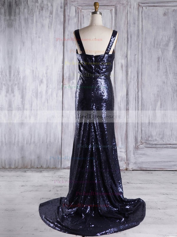 Sheath/Column Square Neckline Sweep Train Sequined with Ruffles Bridesmaid Dresses #PDS01013322