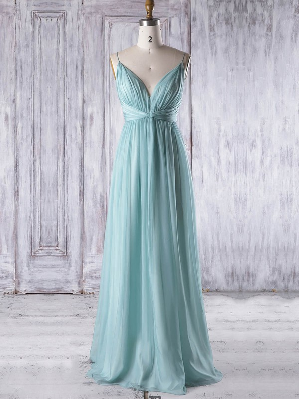 Empire V-neck Floor-length Chiffon with Ruffles Bridesmaid Dresses #PDS01013323