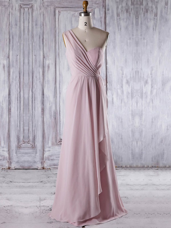 A-line One Shoulder Floor-length Chiffon with Ruffles Bridesmaid Dresses #PDS01013324
