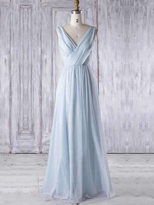 A-line V-neck Floor-length Chiffon with Ruffles Bridesmaid Dresses #PDS01013325