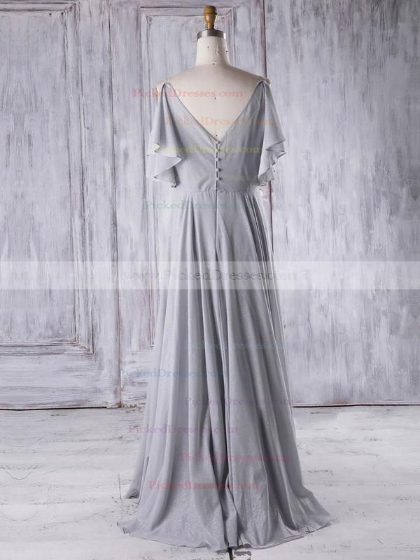 A-line V-neck Floor-length Chiffon with Ruffles Bridesmaid Dresses #PDS01013326