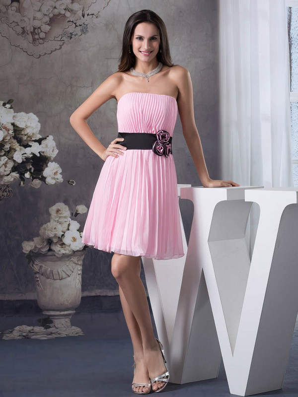 Chiffon A-line Strapless Short/Mini Pleats Bridesmaid Dresses #PDS01011697