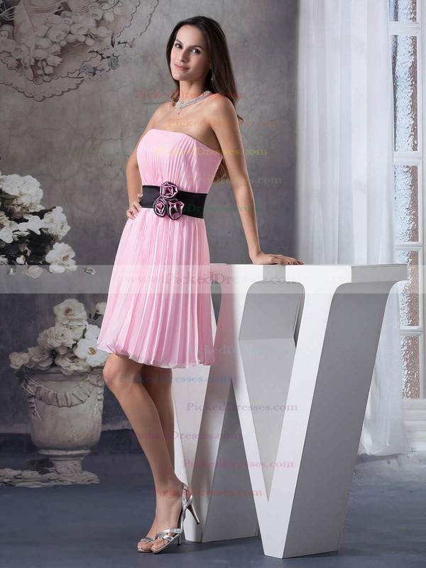 Chiffon A-line Strapless Short/Mini Pleats Bridesmaid Dresses #PDS01011697