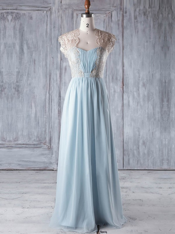 A-line Sweetheart Floor-length Lace Chiffon with Ruffles Bridesmaid Dresses #PDS01013327