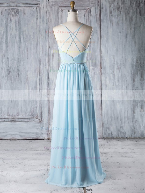A-line V-neck Floor-length Chiffon with Beading Bridesmaid Dresses #PDS01013329
