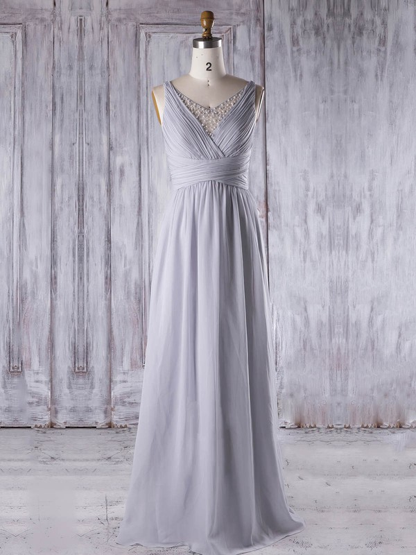 A-line V-neck Floor-length Chiffon Tulle with Pearl Detailing Bridesmaid Dresses #PDS01013331