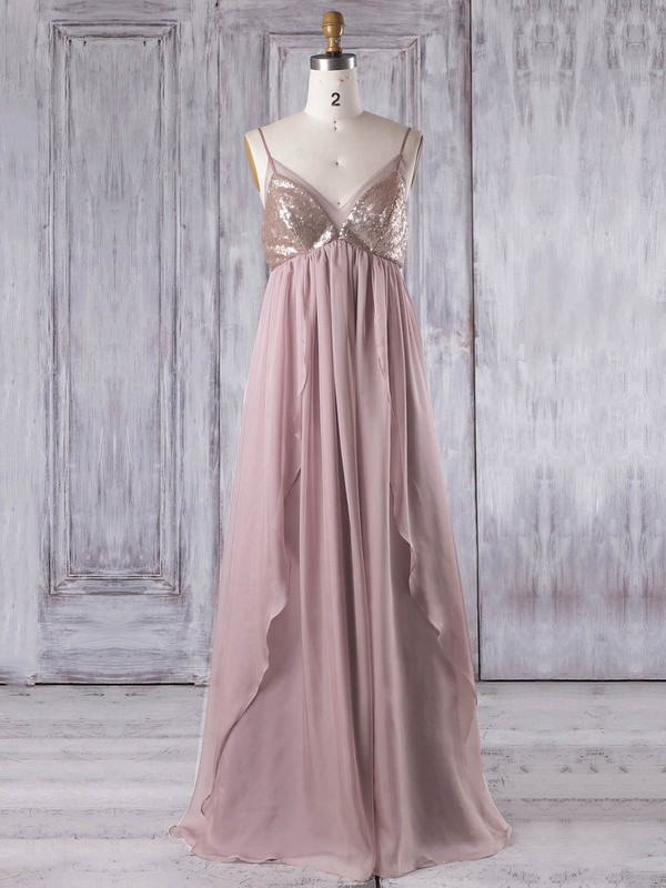 Empire V-neck Floor-length Chiffon with Sequins Bridesmaid Dresses #PDS01013333