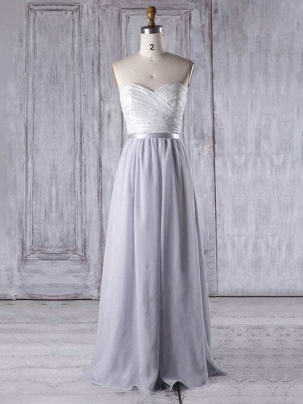 A-line Sweetheart Floor-length Lace Chiffon with Sashes / Ribbons Bridesmaid Dresses #PDS01013334