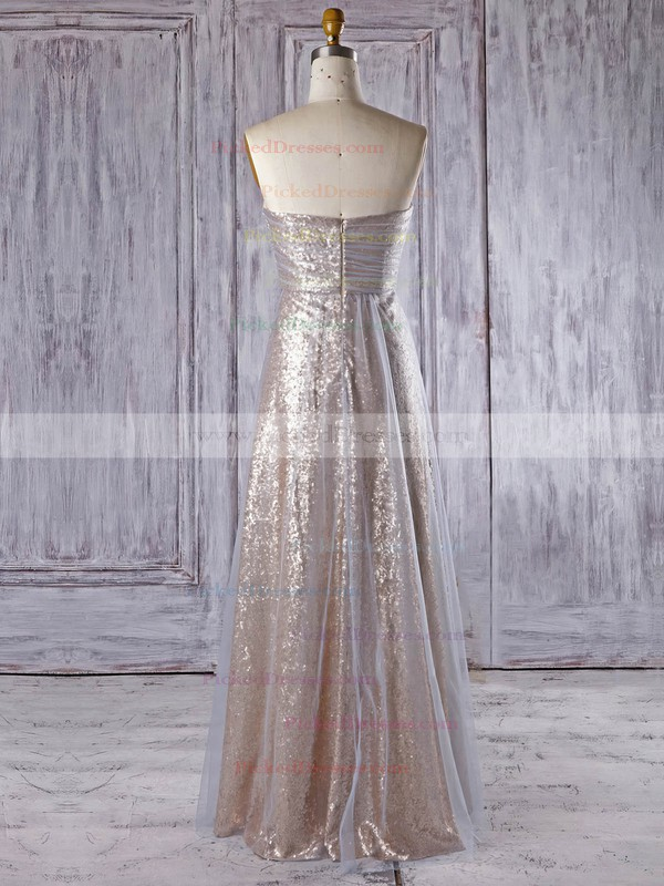 Empire Sweetheart Floor-length Tulle Sequined with Ruffles Bridesmaid Dresses #PDS01013335