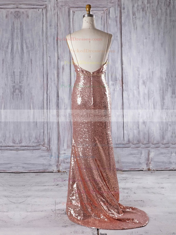 Trumpet/Mermaid V-neck Sweep Train Sequined with Ruffles Bridesmaid Dresses #PDS01013336