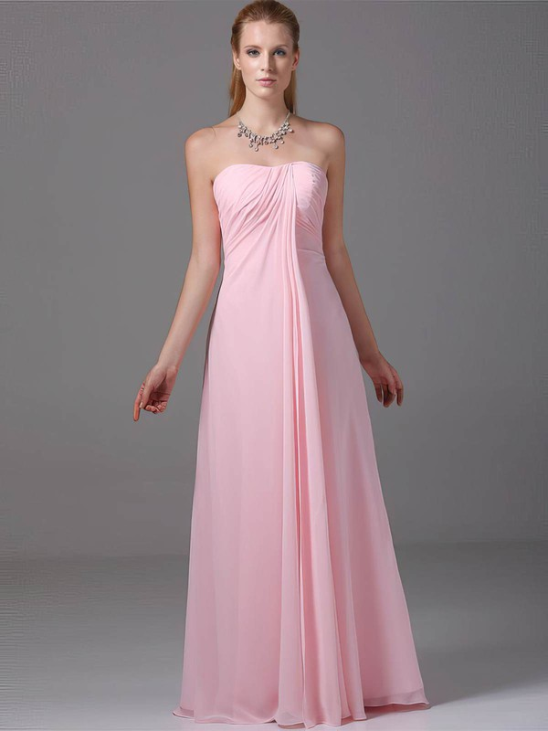 Chiffon Empire Strapless Floor-length Ruched Bridesmaid Dresses #PDS02012881