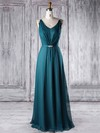 A-line V-neck Floor-length Chiffon with Sashes / Ribbons Bridesmaid Dresses #PDS01013338