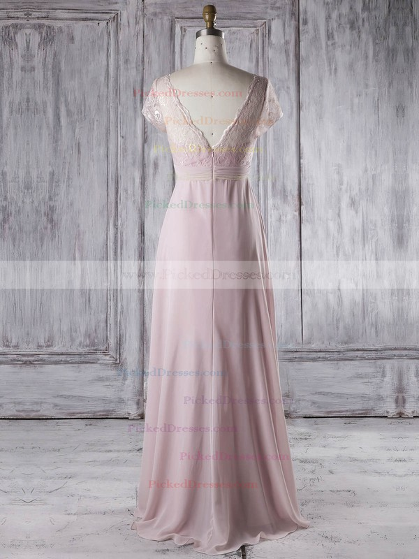 Empire V-neck Floor-length Lace Chiffon with Ruffles Bridesmaid Dresses #PDS01013339