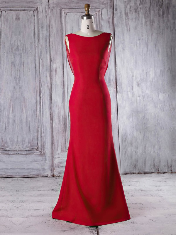 Trumpet/Mermaid Scoop Neck Sweep Train Chiffon Silk-like Satin with Ruffles Bridesmaid Dresses #PDS01013340