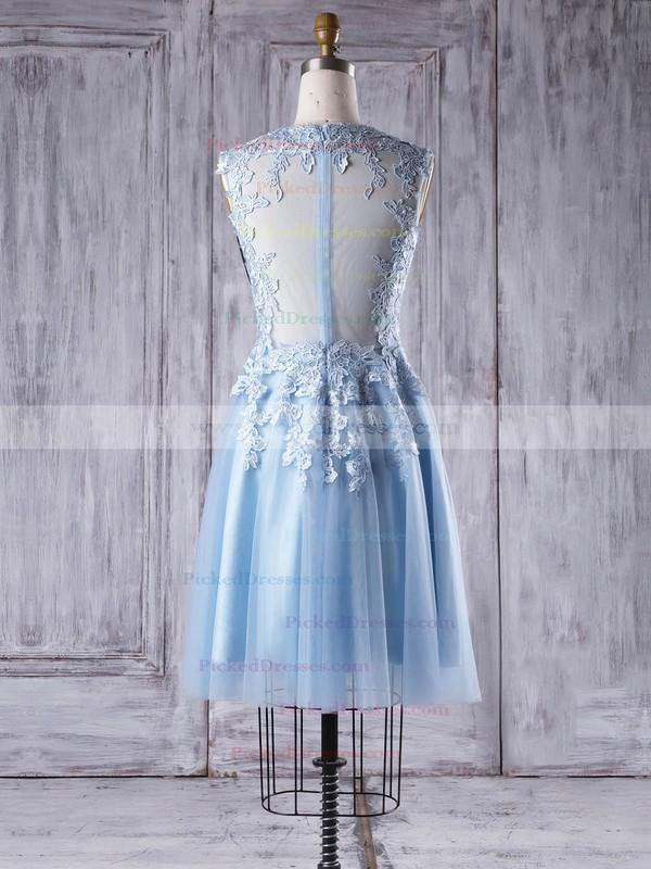 A-line Scoop Neck Short/Mini Tulle with Appliques Lace Bridesmaid Dresses #PDS01013342