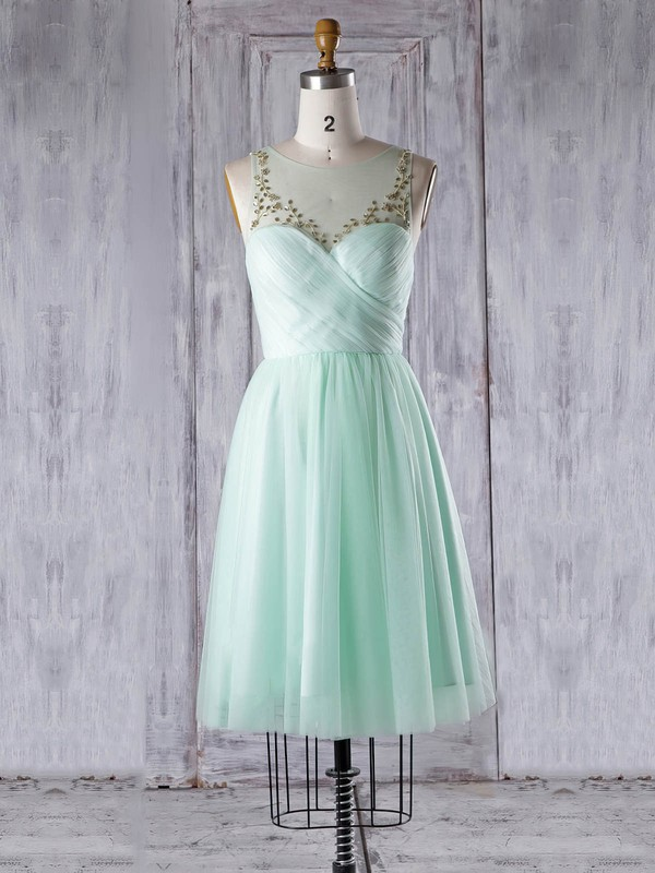 A-line Scoop Neck Knee-length Tulle with Beading Bridesmaid Dresses #PDS01013344