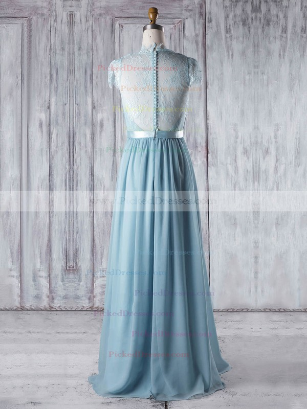 A-line V-neck Floor-length Lace Chiffon with Sashes / Ribbons Bridesmaid Dresses #PDS01013345