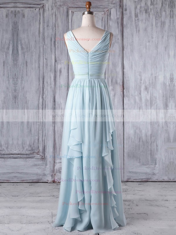 A-line One Shoulder Floor-length Chiffon with Criss Cross Bridesmaid Dresses #PDS01013346