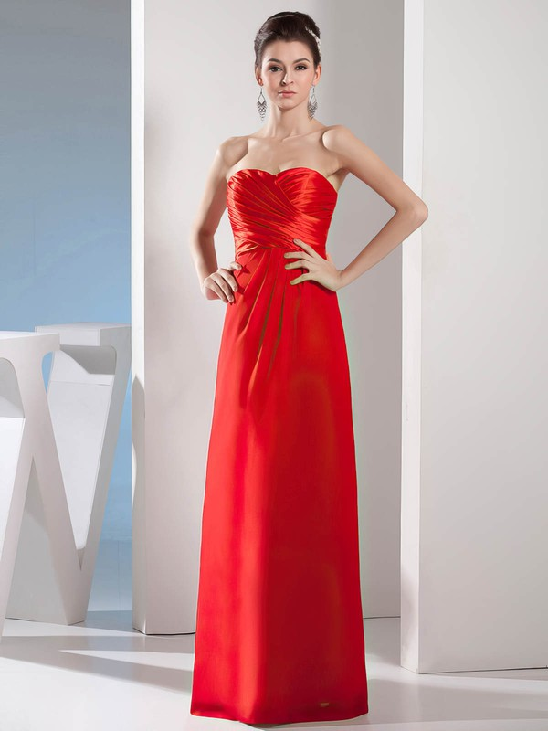 Chiffon Sheath/Column Sweetheart Floor-length Ruched Bridesmaid Dresses #PDS02012976