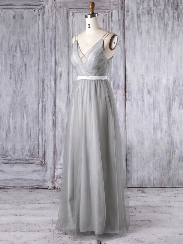 A-line V-neck Floor-length Tulle with Sashes / Ribbons Bridesmaid Dresses #PDS01013347