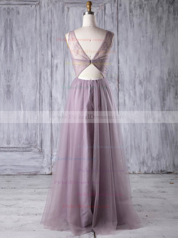A-line Scoop Neck Floor-length Lace Tulle with Criss Cross Bridesmaid Dresses #PDS01013350