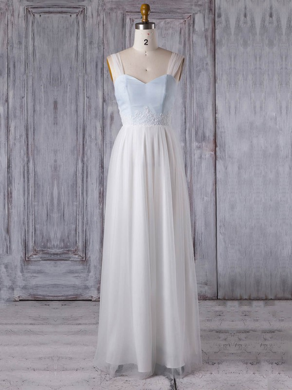A-line Sweetheart Floor-length Tulle with Appliques Lace Bridesmaid Dresses #PDS01013352