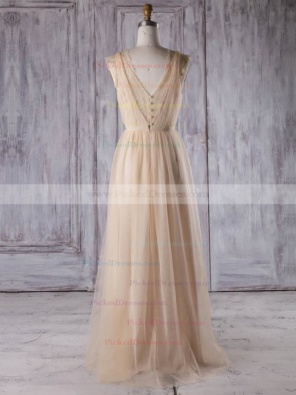 A-line V-neck Floor-length Lace Tulle with Sashes / Ribbons Bridesmaid Dresses #PDS01013353