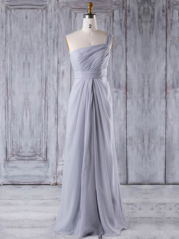 A-line One Shoulder Floor-length Chiffon with Ruffles Bridesmaid Dresses #PDS01013354