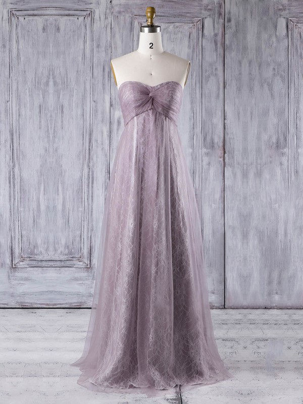 Empire Sweetheart Floor-length Lace Tulle with Criss Cross Bridesmaid Dresses #PDS01013355