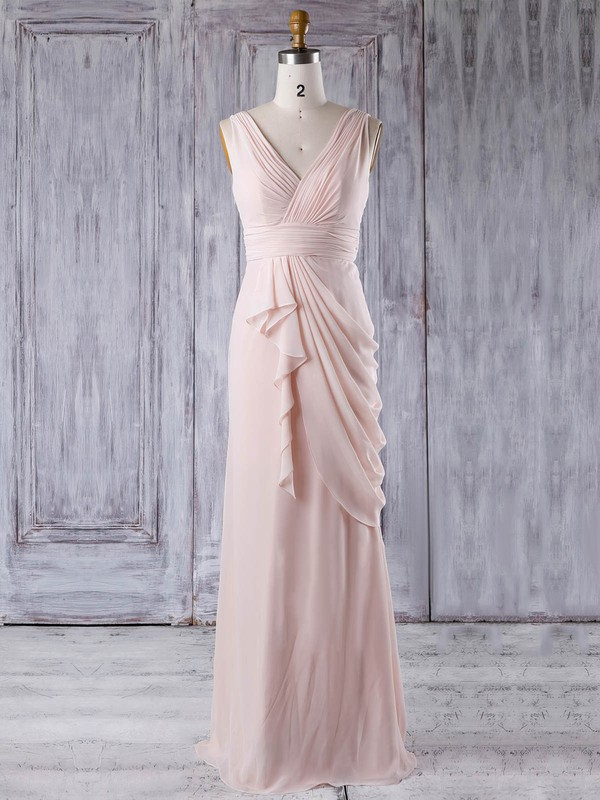 Sheath/Column V-neck Floor-length Chiffon with Ruffles Bridesmaid Dresses #PDS01013356
