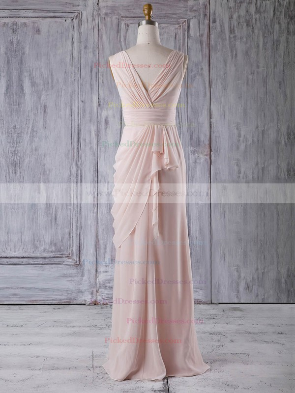 Sheath/Column V-neck Floor-length Chiffon with Ruffles Bridesmaid Dresses #PDS01013356