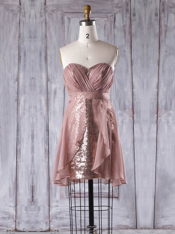 Empire Sweetheart Short/Mini Chiffon Sequined with Ruffles Bridesmaid Dresses #PDS01013357