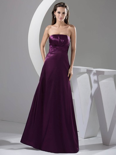 Elastic Woven Satin A-line Strapless Floor-length Ruched Bridesmaid Dresses #PDS02013052