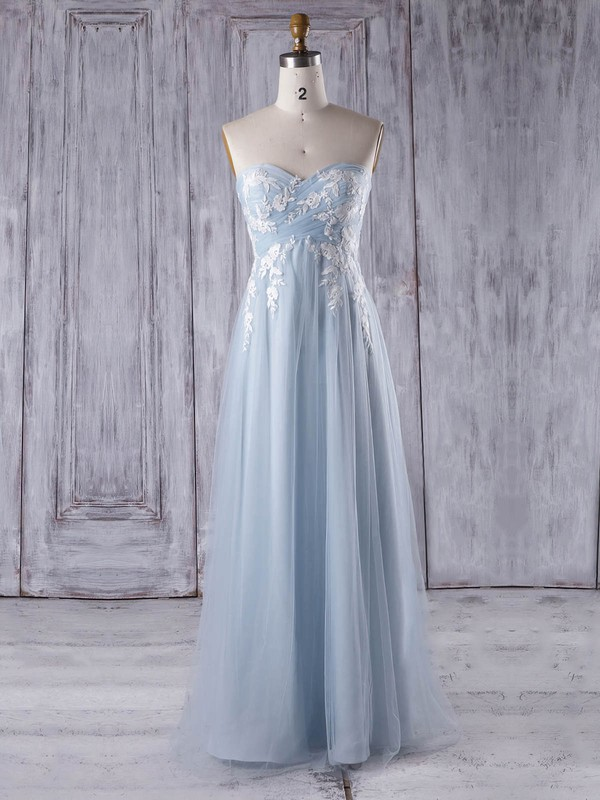 Empire Sweetheart Floor-length Tulle with Appliques Lace Bridesmaid Dresses #PDS01013358