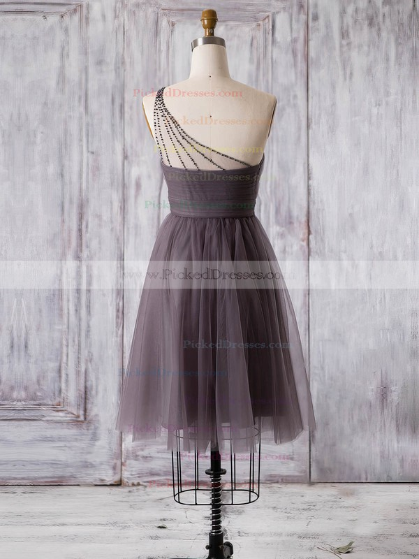 A-line One Shoulder Short/Mini Tulle with Ruffles Bridesmaid Dresses #PDS01013360