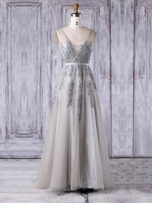 A-line V-neck Floor-length Tulle with Pearl Detailing Bridesmaid Dresses #PDS01013361