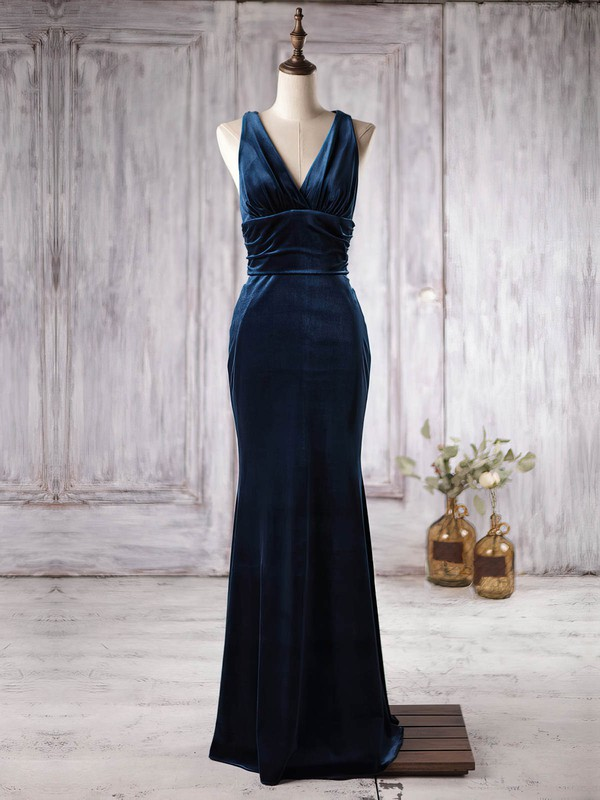 Trumpet/Mermaid V-neck Floor-length Velvet with Ruffles Bridesmaid Dresses #PDS01013363