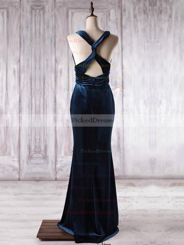 Trumpet/Mermaid V-neck Floor-length Velvet with Ruffles Bridesmaid Dresses #PDS01013363
