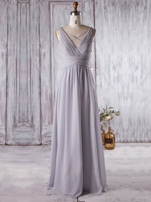 A-line V-neck Floor-length Chiffon with Ruffles Bridesmaid Dresses #PDS01013364