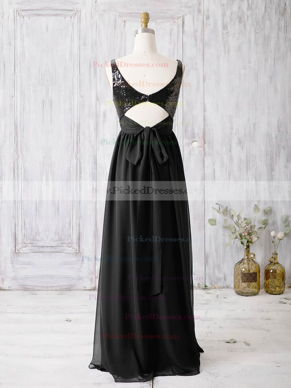 A-line V-neck Floor-length Chiffon with Sequins Bridesmaid Dresses #PDS01013365