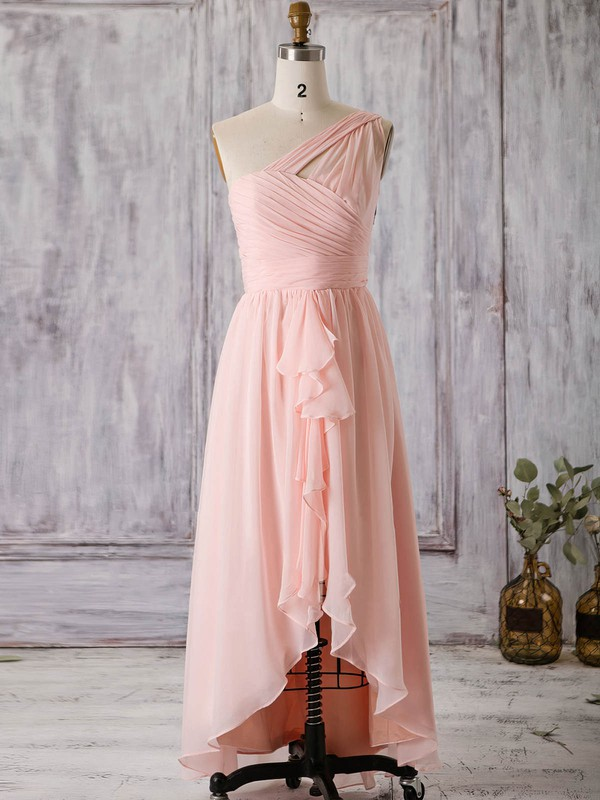 A-line One Shoulder Asymmetrical Chiffon with Split Front Bridesmaid Dresses #PDS01013367
