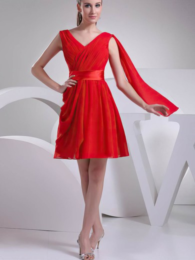 Chiffon A-line V-neck Short/Mini Ruffles Bridesmaid Dresses #PDS02041451